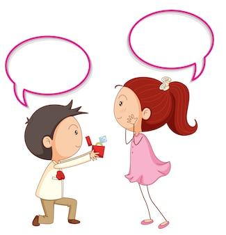 Una pareja propone con globo de discurso.