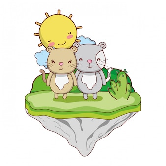 Pareja ratón animal en la isla flotante