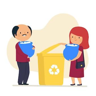 Pareja reciclando juntos sus productos