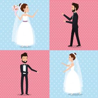 Pareja recién casada establecer imágenes