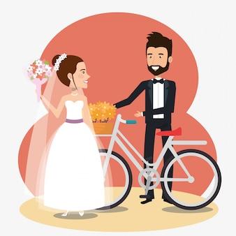 Pareja de recién casados en bicicleta avatares personajes
