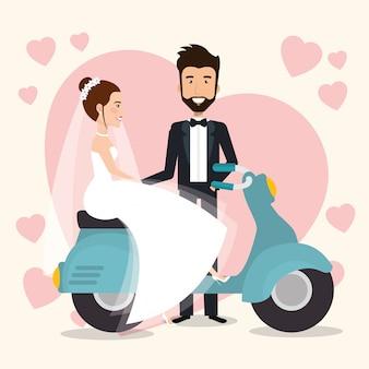 Pareja de recién casados en motocicleta avatares personajes