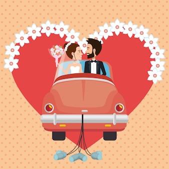 Pareja de recién casados con personajes de avatares de automóviles