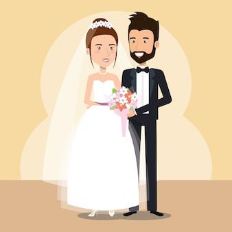Pareja de recién casados personajes de avatares