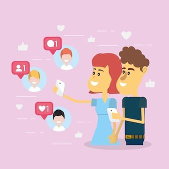 Pareja en las redes sociales.