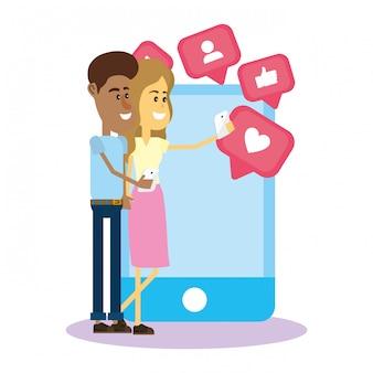 Pareja en las redes sociales. Vector Premium
