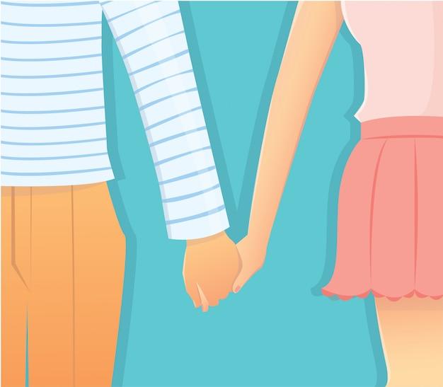 Pareja en la relación de amor cogidos de la mano