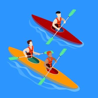 Pareja remando en kayak. vector isométrico aislado de kayak