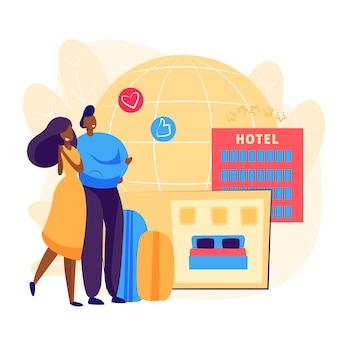 Pareja reservando habitación de hotel