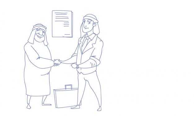 Pareja rica empresario árabe estrecharme la mano acuerdo comercial éxito boceto doodle
