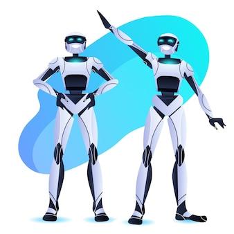 Pareja de robots de pie juntos equipo de personajes robóticos modernos