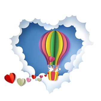 Pareja romántica en corazón, ilustración de corte de papel