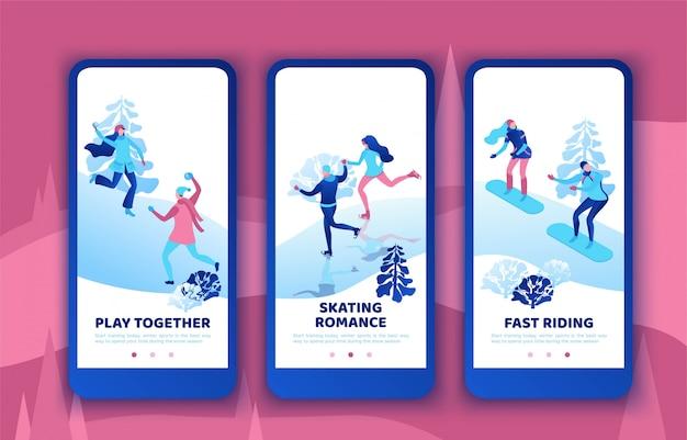 Pareja romántica haciendo snowboard juntos, conjunto de plantillas de aplicación móvil