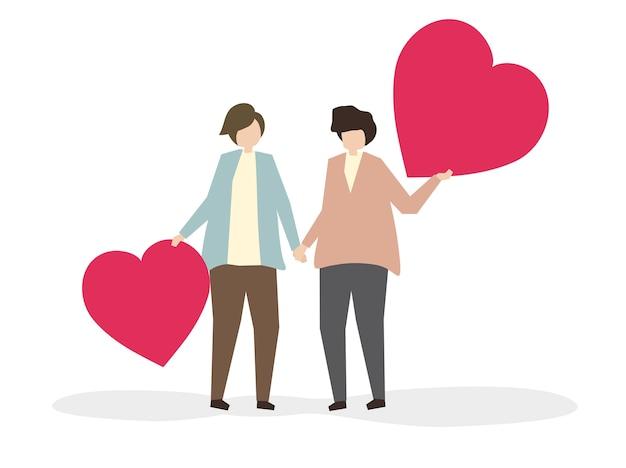 Pareja romántica en la ilustración de amor