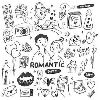 Pareja romántica con lindos garabatos