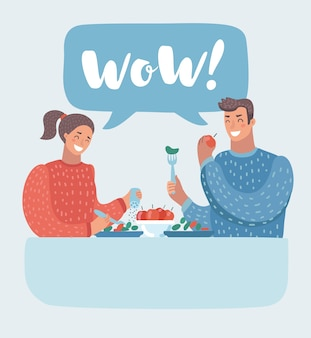 Pareja romántica sentada en la cafetería - compartiendo una botella de vino. hombre y mujer en un restaurante. ilustración