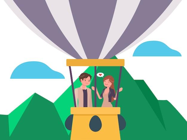 Pareja saliendo juntos en un globo de aire