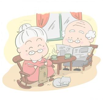 Pareja senior en casa. ella está tejiendo ganchillo y él está leyendo una noticia. ilustración vectorial