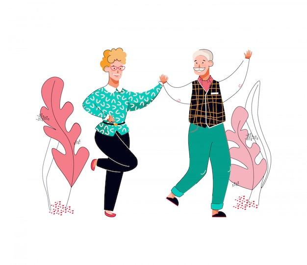Pareja de senior hombre y mujer bailando, ilustración vectorial de dibujos animados aislado.