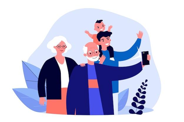 Pareja senior tomando selfie con hijo y nieto. hombre y niño visitando la ilustración de los abuelos. familia, concepto de fotografía para banner, sitio web o página web de destino