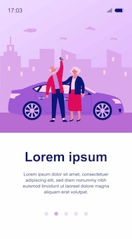 Pareja senior viajando en coche. anciano y mujer comprando o alquilando ilustración de automóvil. conducción, transporte urbano, concepto de coche compartido para banner, sitio web o página web de destino