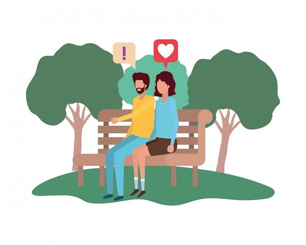 Pareja sentada en la silla del parque con burbujas de discurso