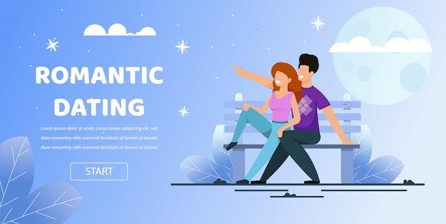Pareja sentarse banco parque fecha romántica noche luna