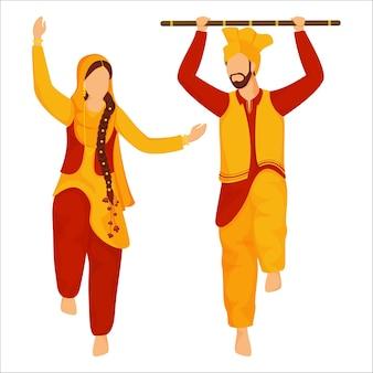 Pareja de sijismo o punjabi haciendo bhangra o danza folclórica con palo sobre fondo blanco.
