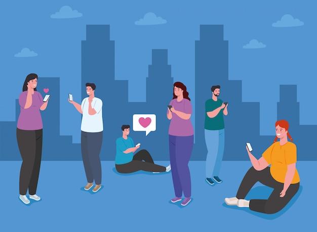 Pareja con smartphone en la ciudad, las redes sociales y el concepto de tecnología de la comunicación