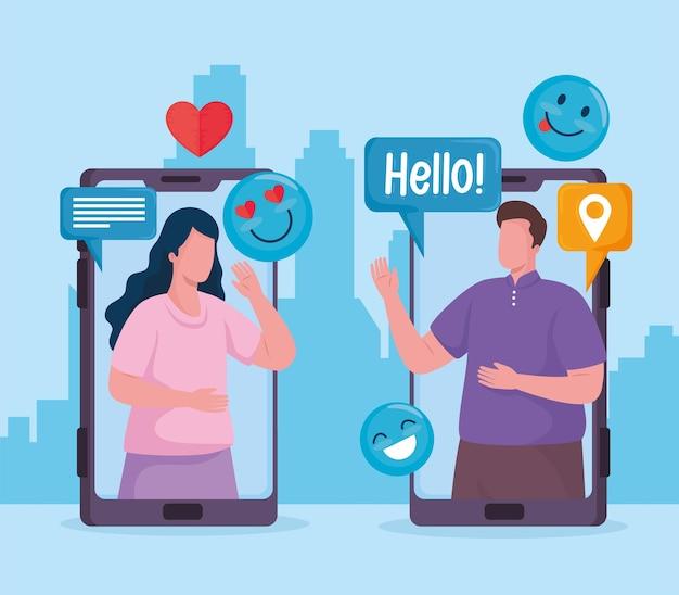 Pareja en teléfonos inteligentes redes sociales establecer iconos ilustración