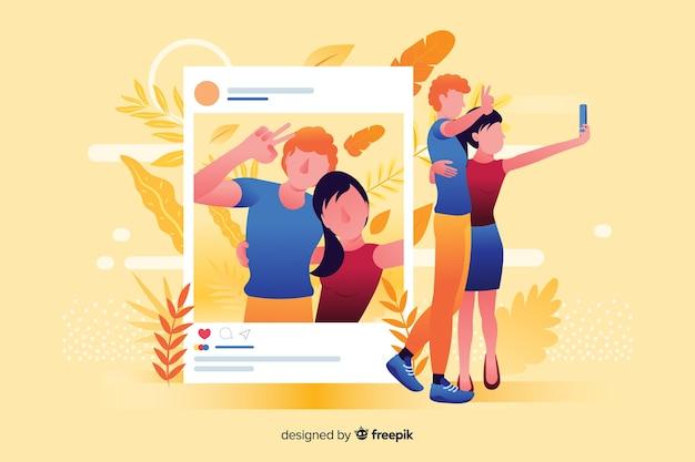 Pareja tomando una selfie para publicar en las redes sociales ilustrada