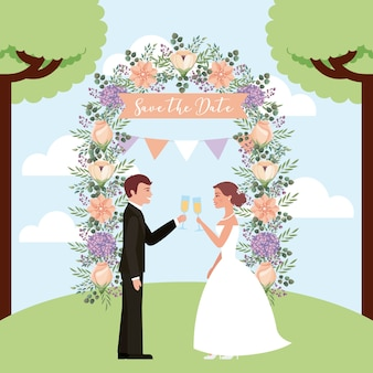 Pareja tostando vino boda flores de arco guardar la fecha