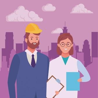 Pareja de trabajadores profesionales dibujos animados sonrientes
