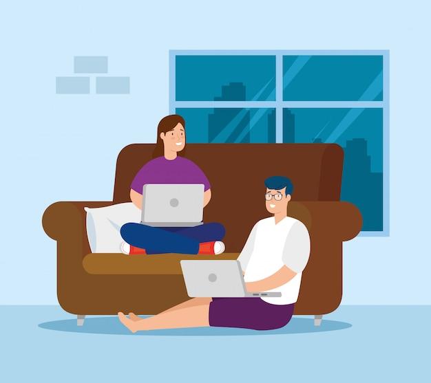 Pareja trabajando en casa con laptop y sofá