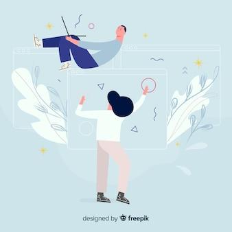 Pareja trabajando juntos en diseño gráfico