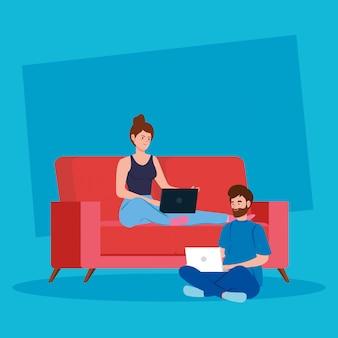 Pareja trabajando en teletrabajo sentado en el sofá ilustración