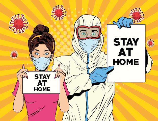 Pareja con traje de bioseguridad y quedarse en casa etiqueta covid19 pandemia