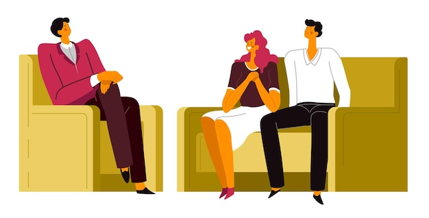 Pareja en tratamiento de psicólogo, hombre y mujer en sesión de psiquiatra. asesoramiento y salud mental, resolución de problemas y luchas en las relaciones. soporte de vector especialista en plano.