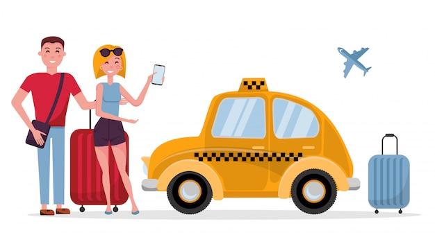 Pareja de turistas joven y mujer con maletas esperando taxi