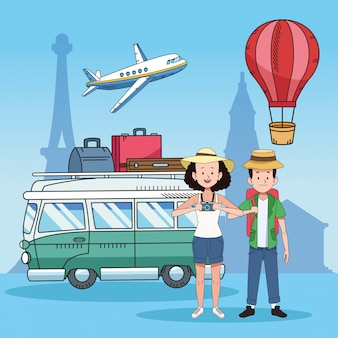 Pareja de turistas con lugares famosos y furgoneta