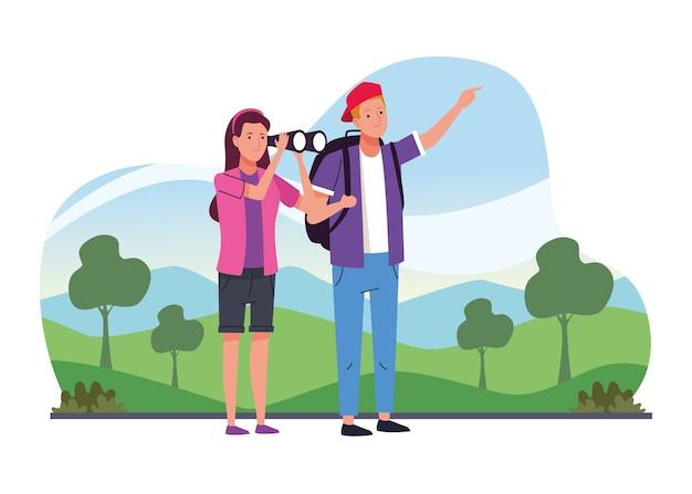 Pareja de turistas de pie con binoculares en los personajes del campamento