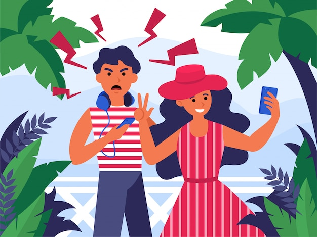 Pareja de turistas tomando selfie de vacaciones