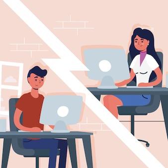 Pareja usando escritorios en comunicación virtual de conferencia