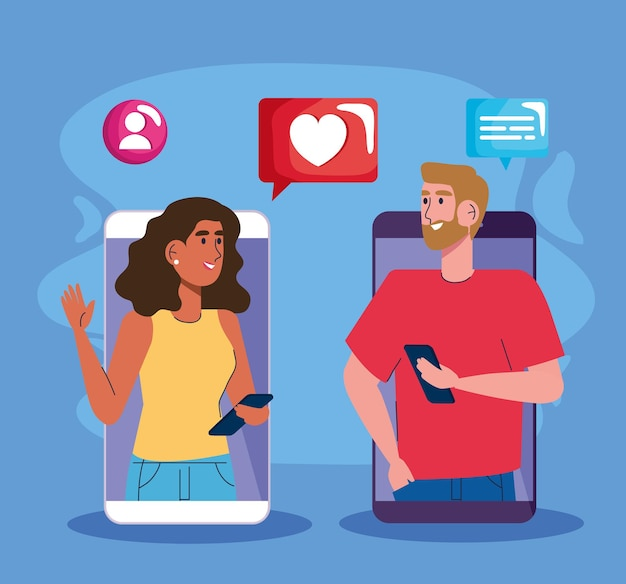 Pareja de usuarios en teléfonos inteligentes con ilustración de iconos de redes sociales