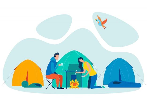Pareja de vacaciones de camping plana ilustración vectorial