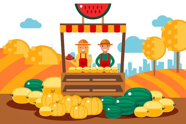 Pareja vende frutas de temporada conjunto ilustración. el personaje del hombre y la mujer están detrás del mostrador con melón, sandías