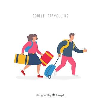 Pareja viajando