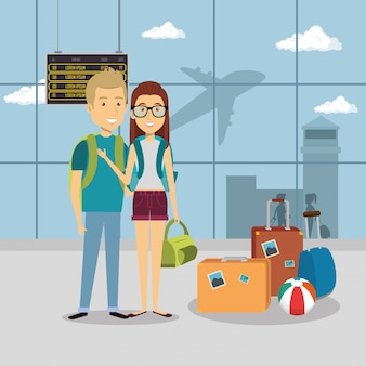 Pareja de viajeros en el aeropuerto personajes