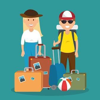 Pareja de viajeros con personajes de maletas