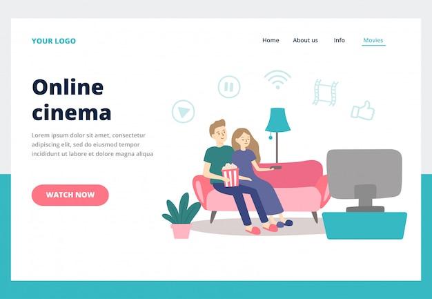 Pareja viendo películas el hombre y la mujer jóvenes miran películas en casa. concepto de vector de página de aterrizaje de negocios de servicio de cine en línea